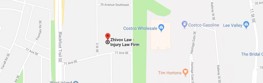Zhivov Law, Personal Injury Lawyers, Calgary Map